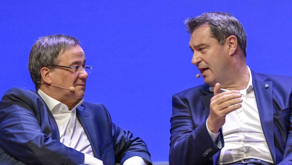 Einstige Einigkeit: Armin Laschet (links) und Markus Söder im April 2019 im Europawahlkampf