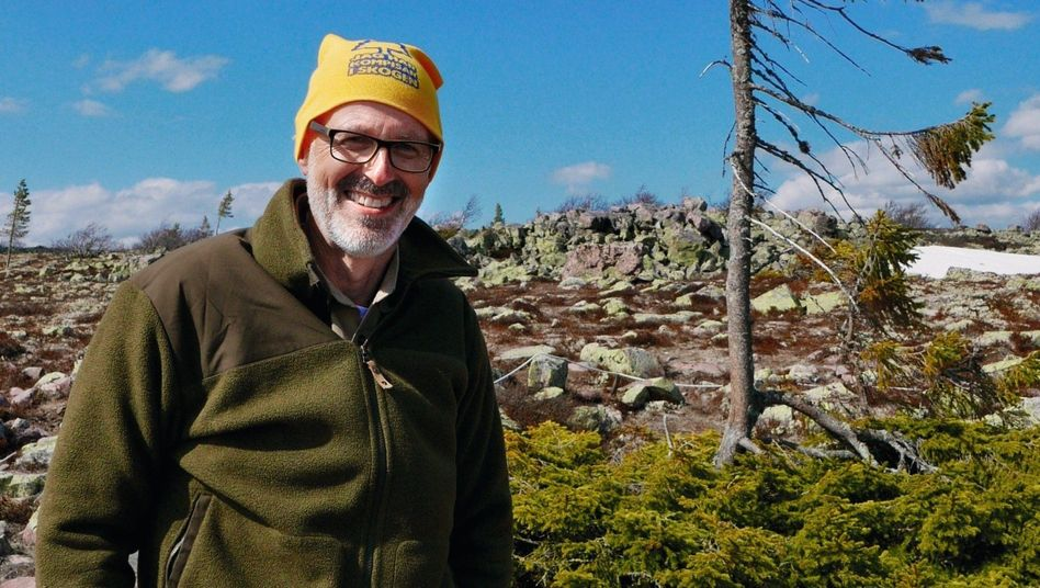 Förster Wohlleben vor Baum Old Tjikko (Im Nationalpark Fulufjället in Schweden):Alles hängt mit allem zusammen