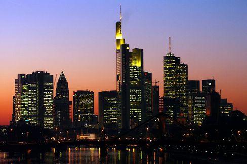 The skyline of Frankfurt, 'Germany's financial center.