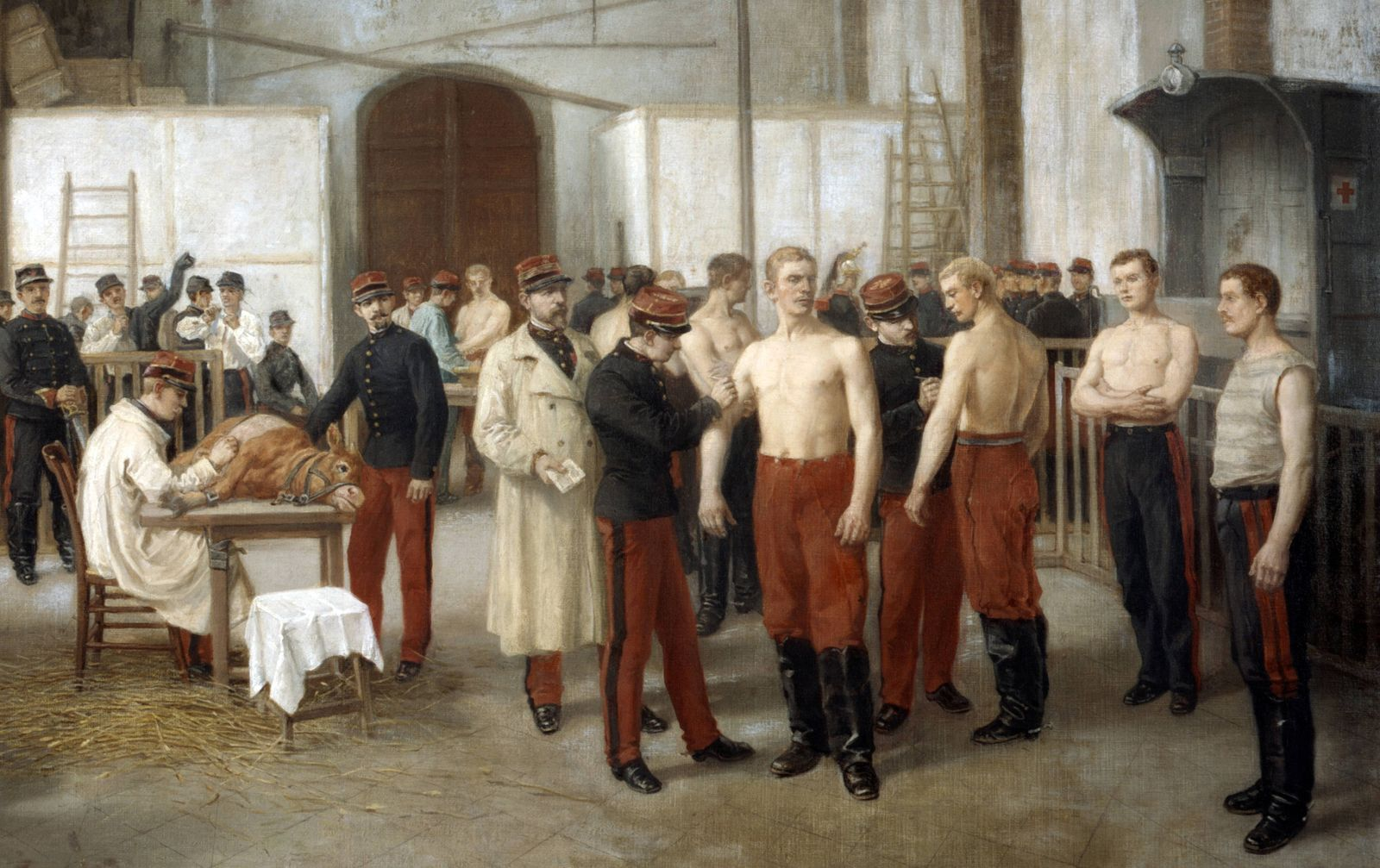 Vaccination c1895 Alfred Touchemolin 1829 1907 French painter French army recruits being vaccin