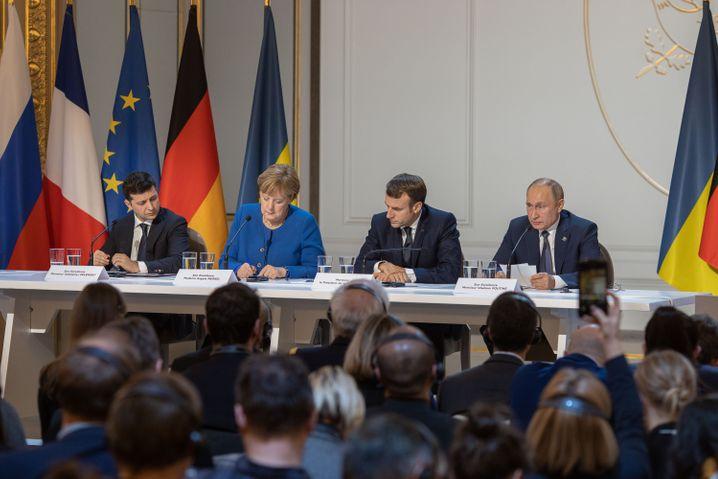 Selenskyj, Merkel, Macron und Putin im Dezember 2019 in Paris beim Normandie-Treffen zur Ukraine