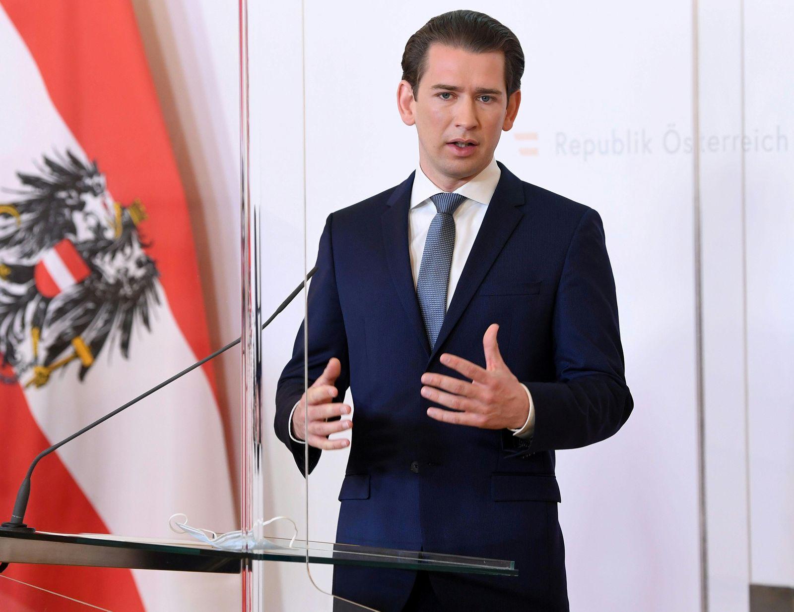 Austrian Chancellor Sebastian Kurz attends a news conference in Vienna