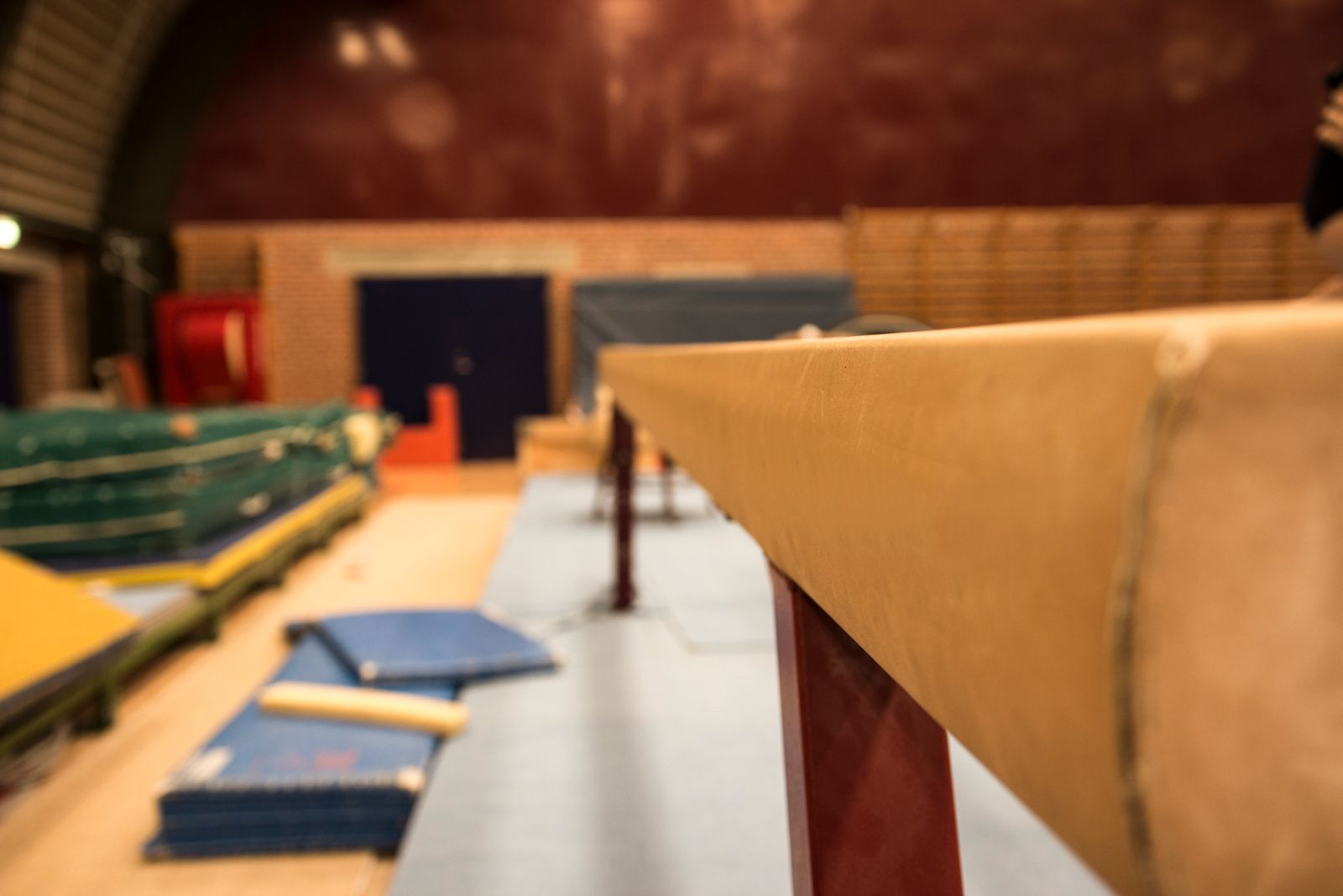 Gymnastics equipment in a gymnastic center