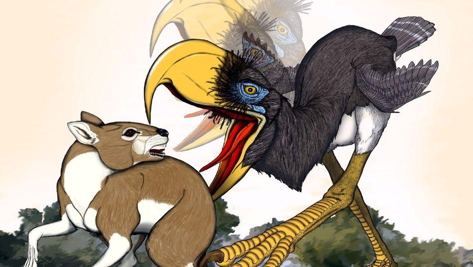 Angriff eines Terrorvogels (künstlerische Darstellung): Schnabel wie eine Axt eingesetzt