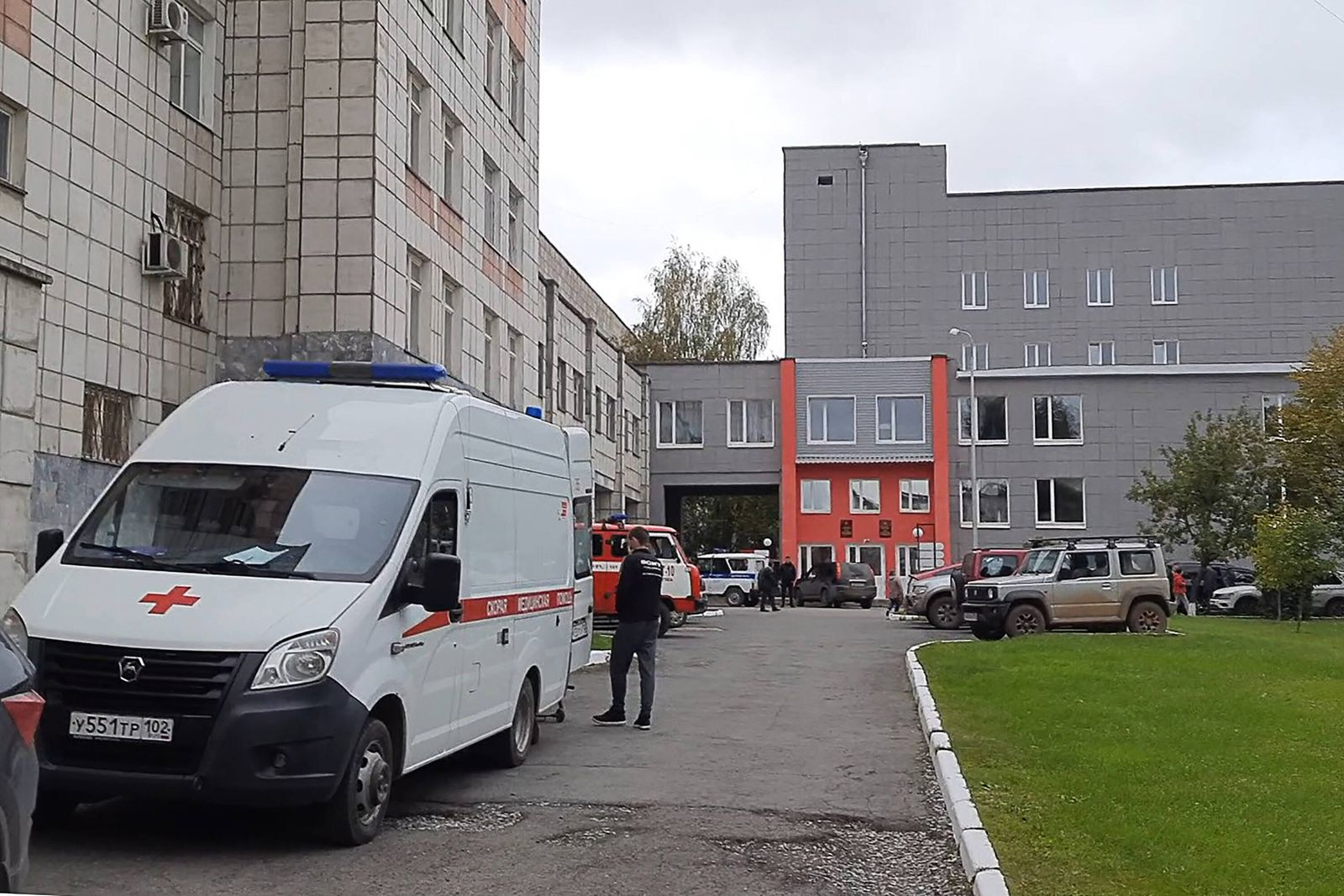 PERM, RUSSIA - SEPTEMBER 20, 2021: An ambulance vehicle is pictured at the Perm State University in Genkelya Street wher
