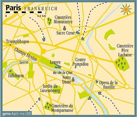 Dreieck der Promi-Friedhöfe: Père Lachaise liegt im Osten der Innenstadt von Paris, Montmartre im Norden und Montparnasse südlich der Seine.
