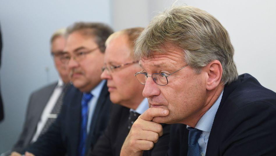 Jörg Meuthen (r.) mit Emil Sänze, Rainer Podeswa und Bernd Gögel