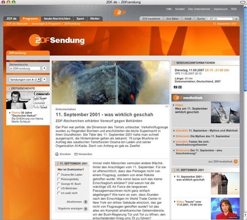 ZDF wants conspiracy buffs to have their say. Was it Osama, the arms lobby, President Bush or US authorities behind the Sept. 11 attacks?