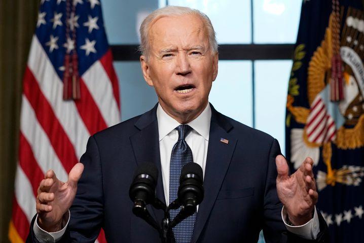 Präsident Joe Biden bei der Verkündung des Afghanistan-Abzugs am Mittwoch