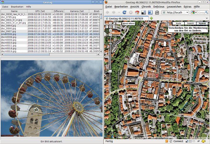 Das Java-Programm Geotag nutzt Firefox oder andere Browser für die Kartenanzeige und Positionsbestimmung.