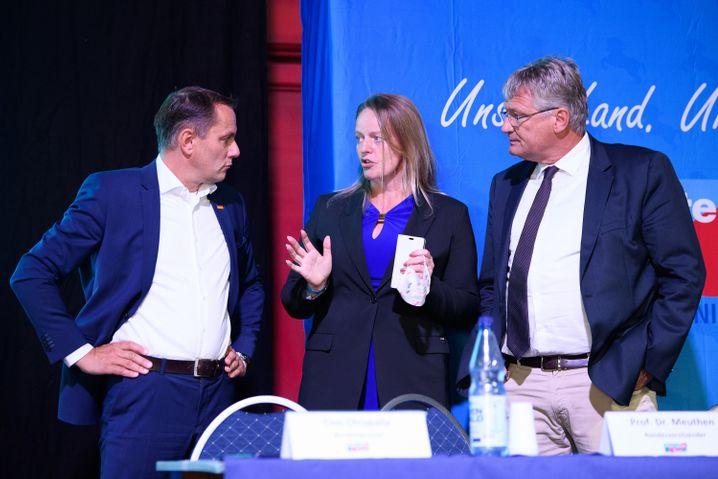 Dana Guth, Jörg Meuthen (r.), Tino Chrupalla
