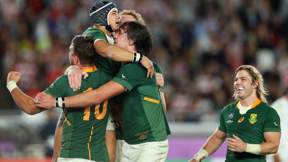 So feiern Weltmeister: Südafrikas Rugby-Spieler bejubeln ihren Triumph