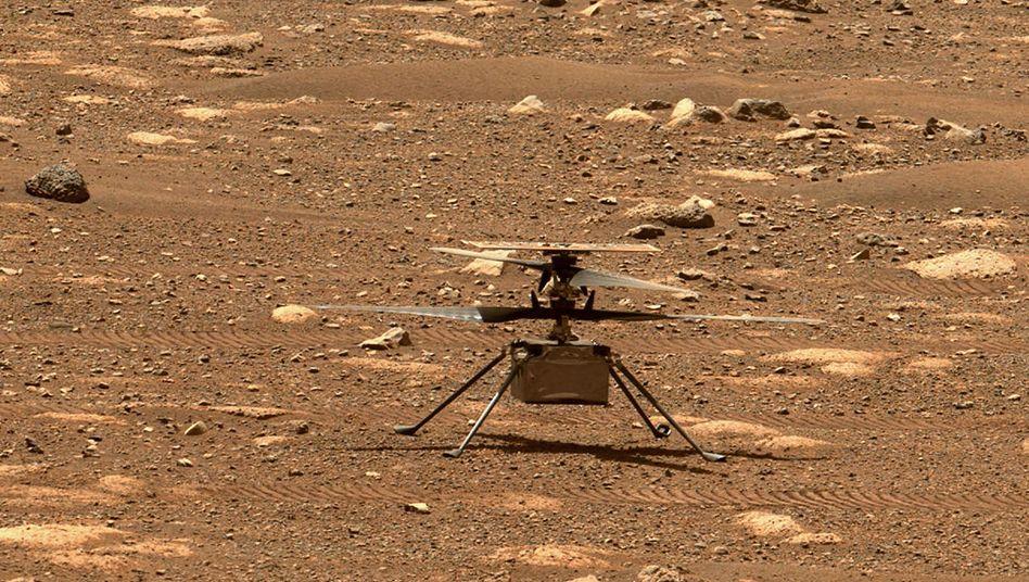 »Ingenuity«: Der Zwerghubschrauber des Rovers »Perseverance« steht auf der Marsoberfläche