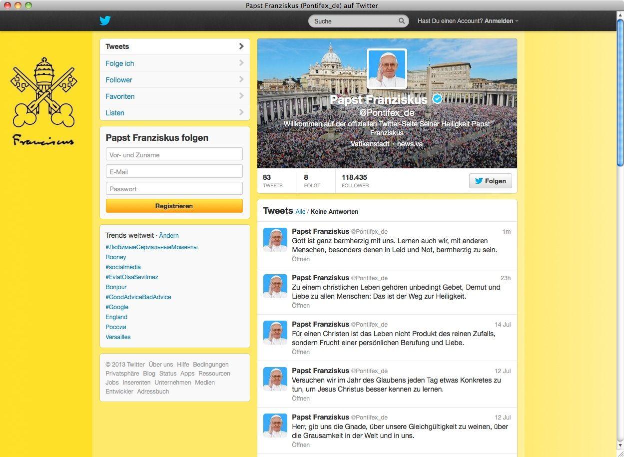 Twitter/ Papst Franziskus