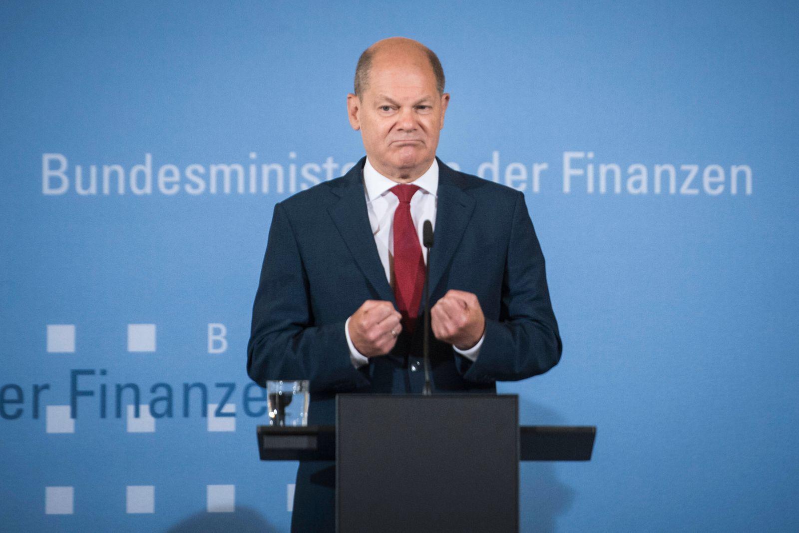News Bilder des Tages Finanzminister und Vizekanzler Olaf Scholz (SPD) bei einer Pressekonferenz zur Umsetzung des Konju