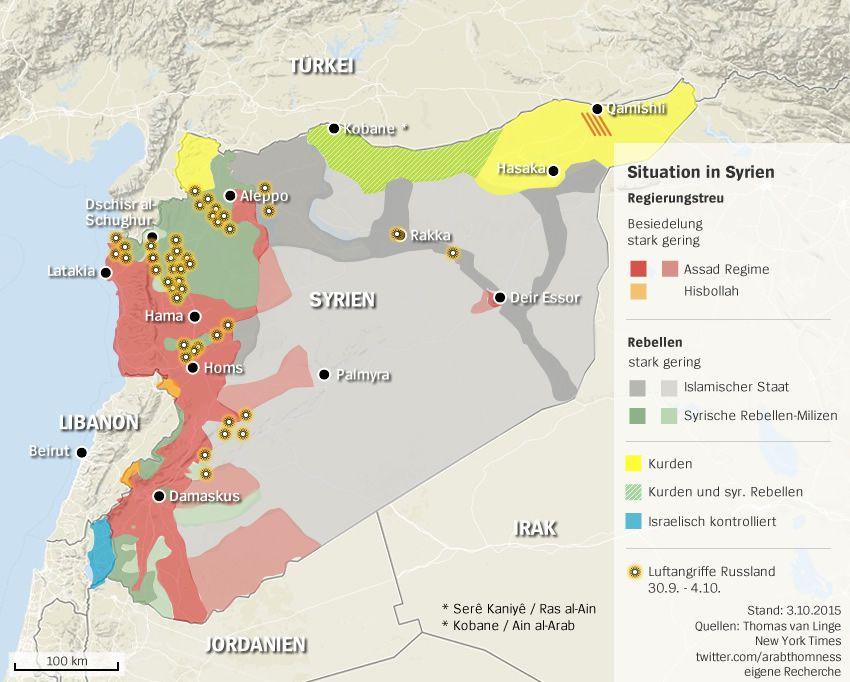 Karte Syrien ANgrife Russland 4.10.2015