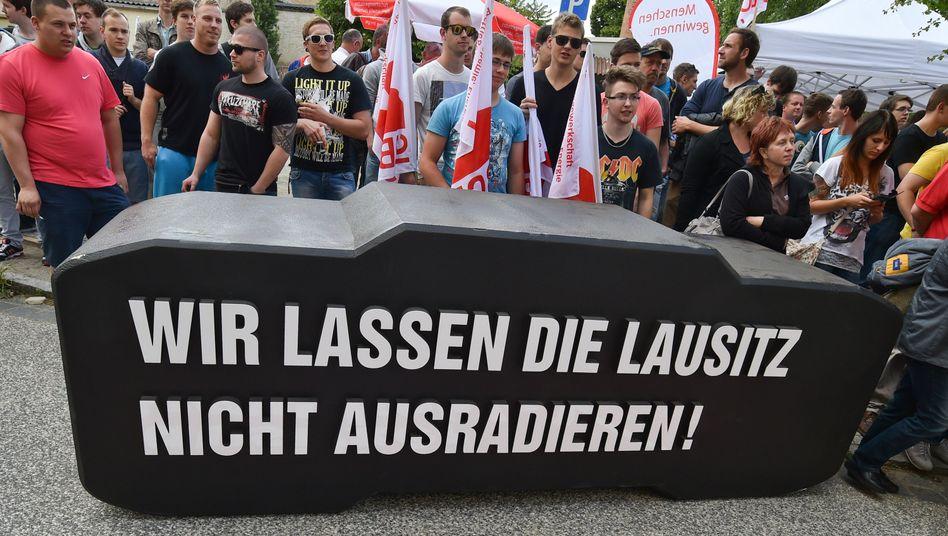 """Protest in der Lausitz: Arbeitsplätze, die """"früher oder später verschwinden"""""""