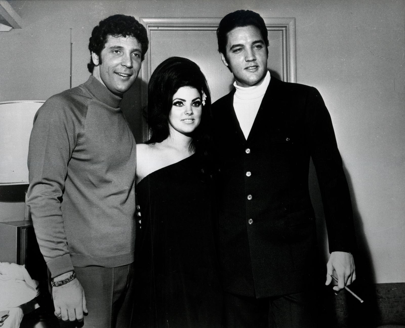 Elvis Presley and Priscilla Presley with Tom Jones