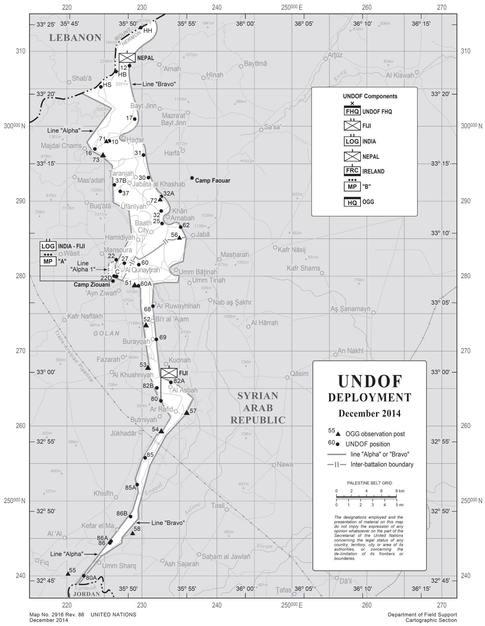 Karte Golanhöhen