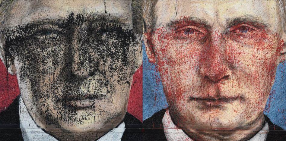 Ausschnitte aus einem Wandbild in Belgrad, (li) US-Präsident Trump, (re) Russischer Präsident Putin