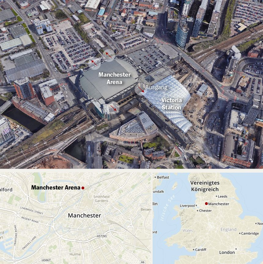 Karte Manchester Arena Anschlag
