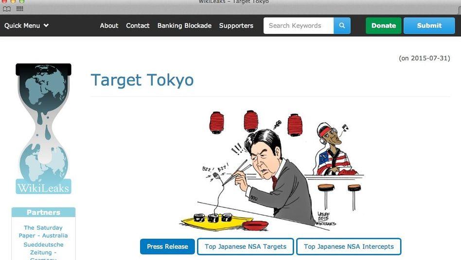 Wikileaks-Karikatur zu Abhöraktionen in Japan: Draht im Sushi