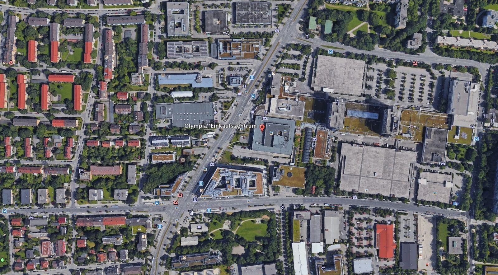 EINMALIGE VERWENDUNG Google Earth/ Olympia Einkaufszentrum