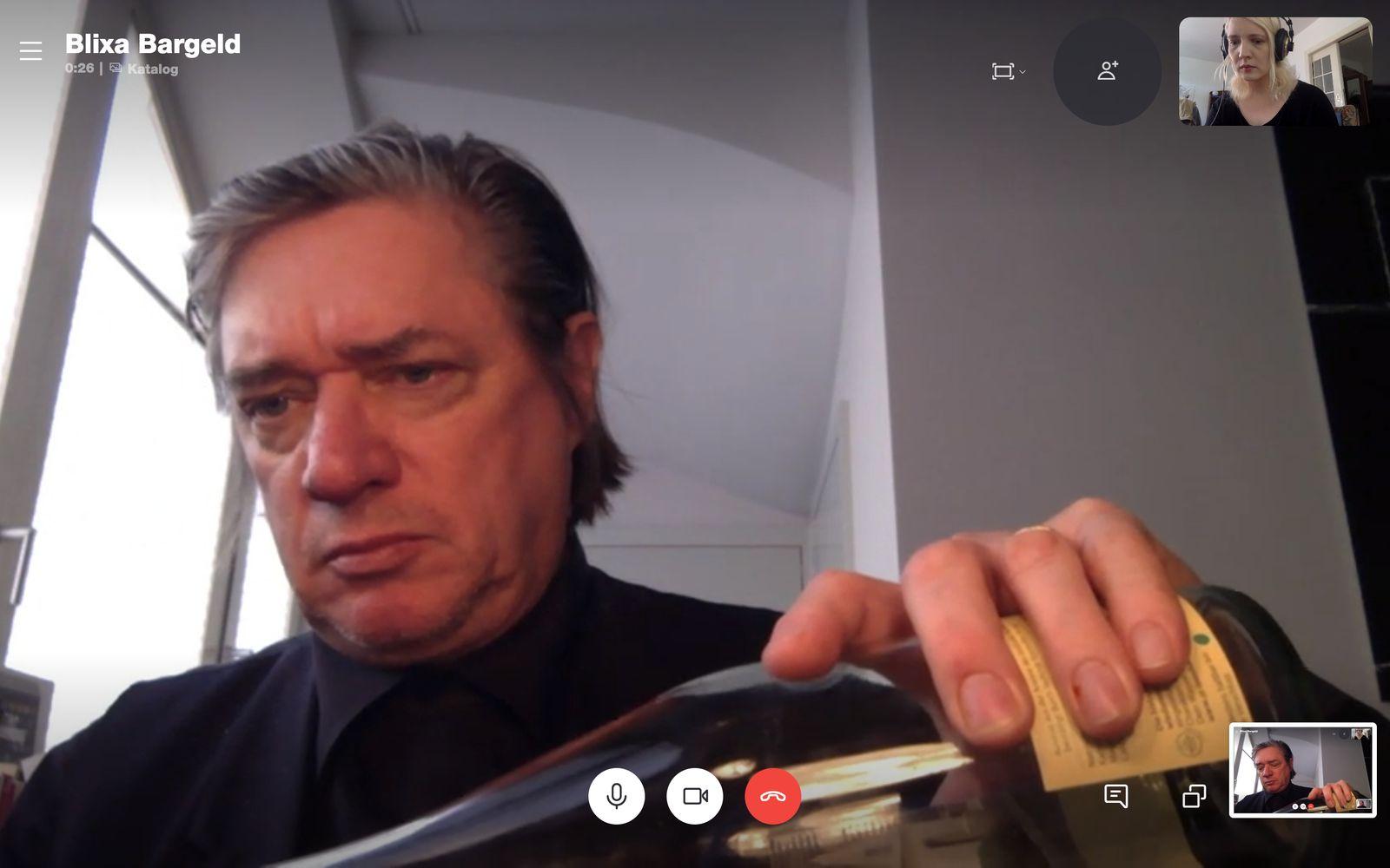 Screenshot während des Gesprächs von Blixa Bargeld mit Juliane Liebert