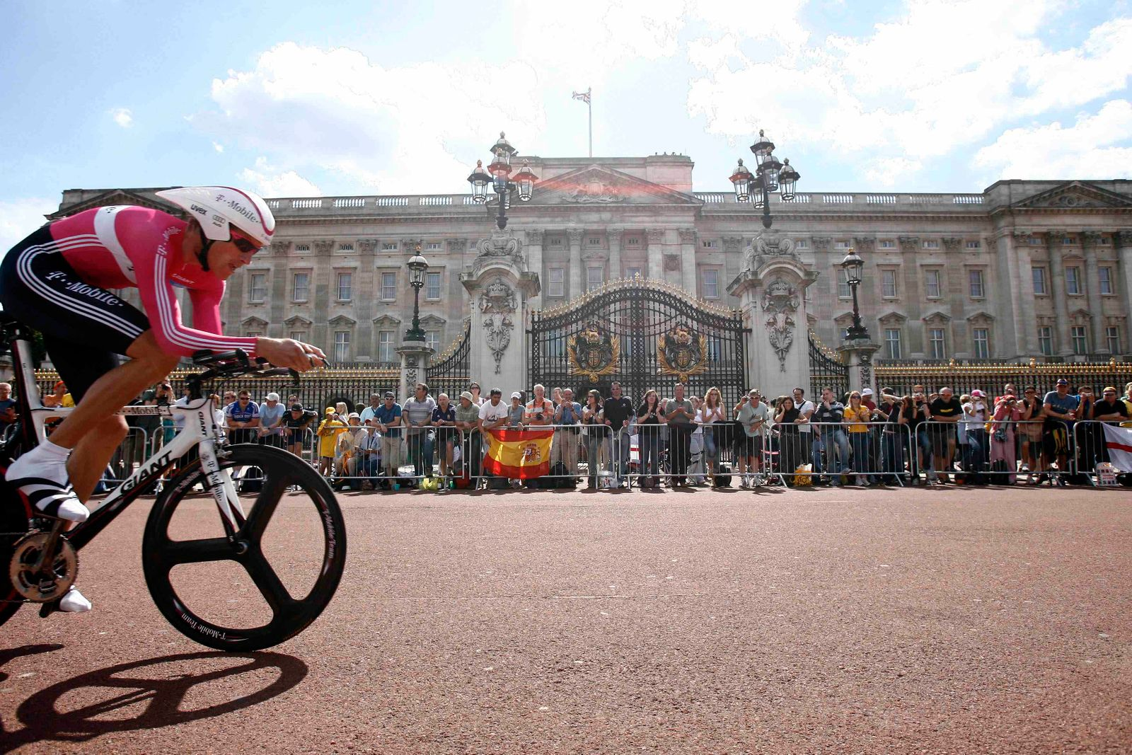 T-Mobile team rider Merckx cycles past Buckingham Palace during the prologue stage of the 94th Tour de France cycling race in London