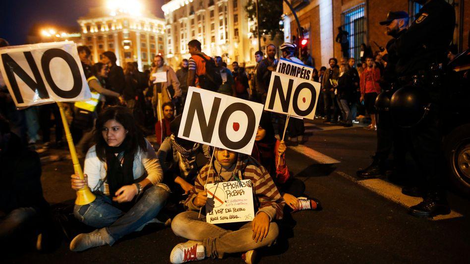 Demo gegen Sparpolitik in Madrid: Die Unterstützung der Bürger für die EU schmilzt dahin