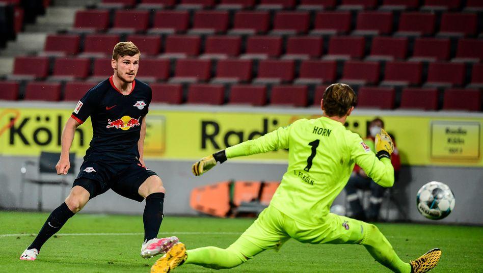 RB-Stürmer Timo Werner nach dem Torwart-Traumpass: Treffer zum 3:1