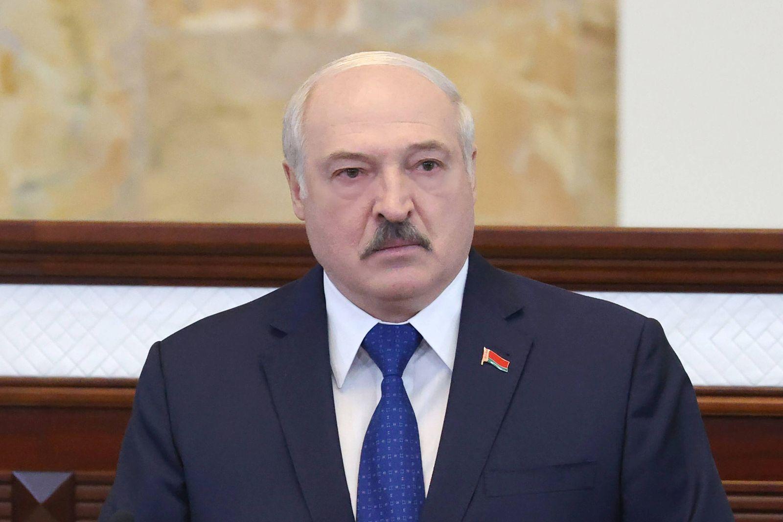 MINSK, BELARUS - MAY 26, 2021: Belarus President Alexander Lukashenko speaks during a meeting with parliamentarians, me