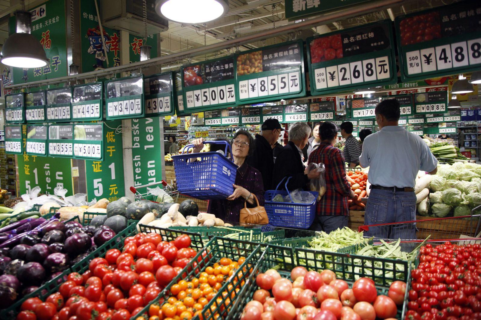 China Inflation / Supermarkt / Gemüse / Preissteigerung