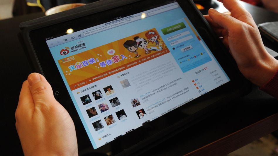 Chinas soziales Netzwerk Weibo (auf einem iPad): Viele Seiten wurden abgeschaltet