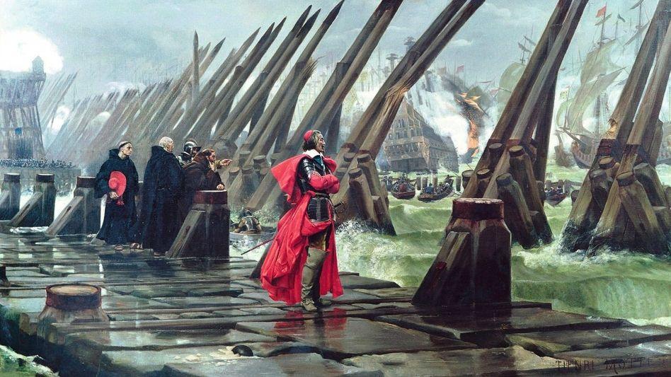 Richelieu bei der Belagerung von La Rochelle Gemälde von Henri-Paul Motte, 1881