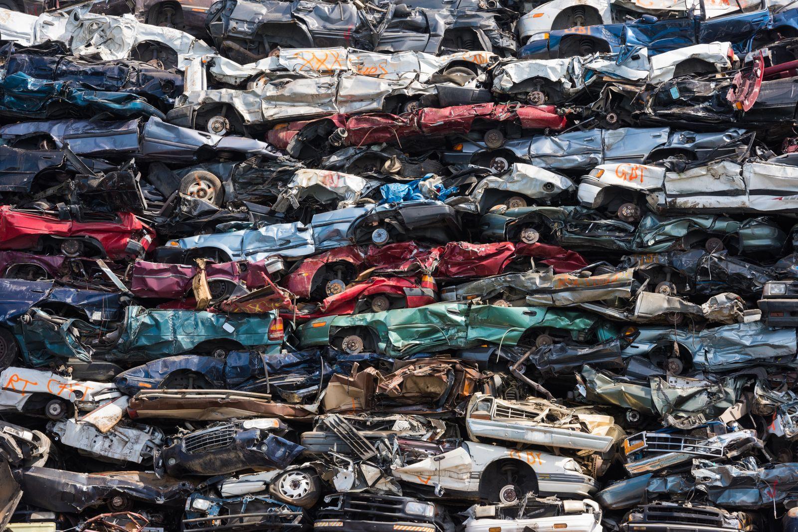 Heap of scrap cars