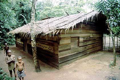 Sarnos Holzhütte: Erst vor wenigen Jahren baute sie sich Sarno mit Hilfe der Bayaka - die luxuriöseste Behausung im Dorf