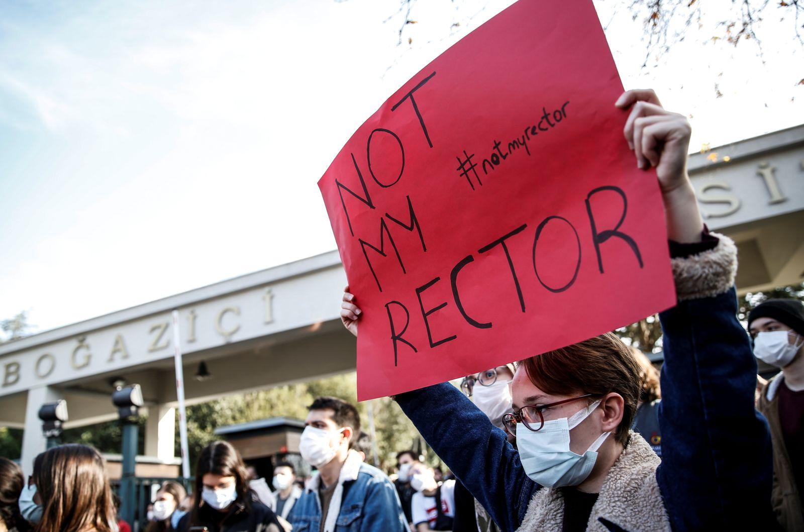 Students of Bogazici University protest in Istanbul