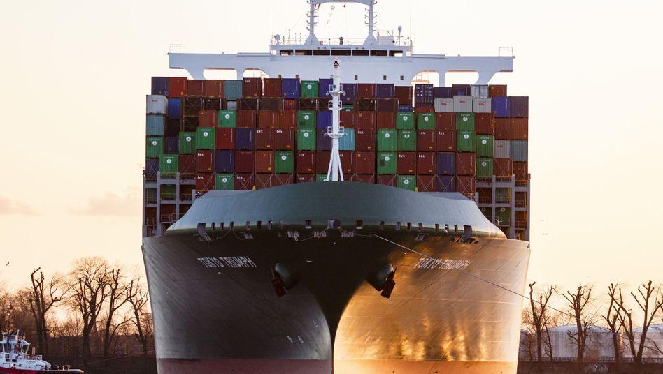 Containerschiff in Hamburg 2018: Exporte hui, Importe ...