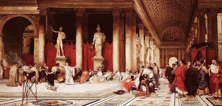 Caligulas Hofstaat (Gemälde von 1881): Sein Statthalter Flaccus ließ den Pogrom gegen Alexandrias Juden zu