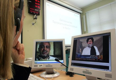 A German intelligence official monitors Arab TV broadcasts at Germany's Joint Anti-Terror Center in Berlin.