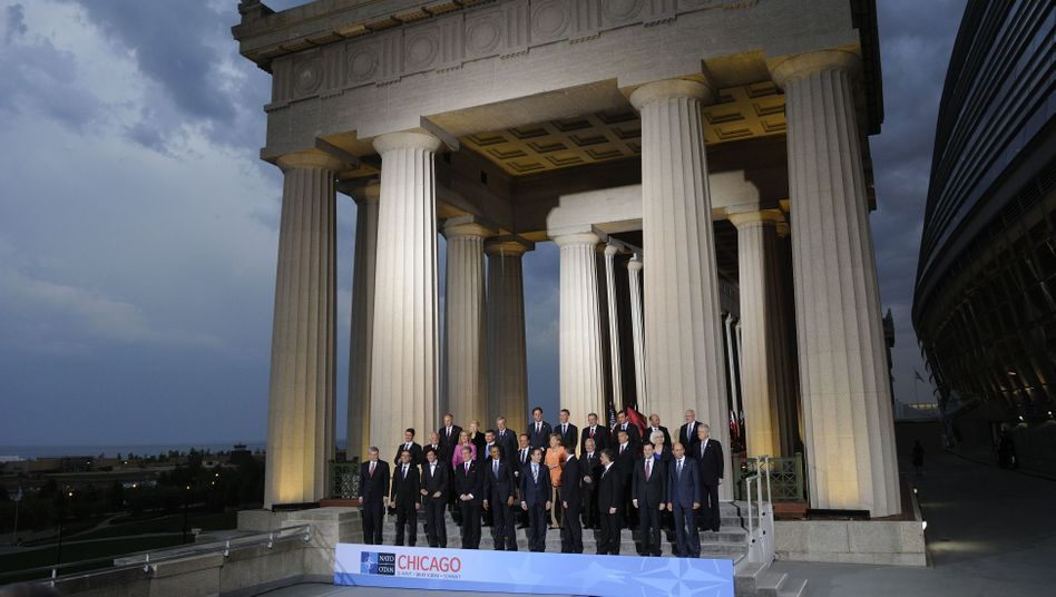 NATO leaders gather outside of Soldier Field in Chicago for their group photo.