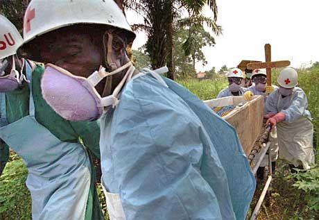 Begräbnis von Ebola-Toten in Zaire 1995: Tropische Gebiete in Afrika und Asien gelten als Wiege neuer Seuchen