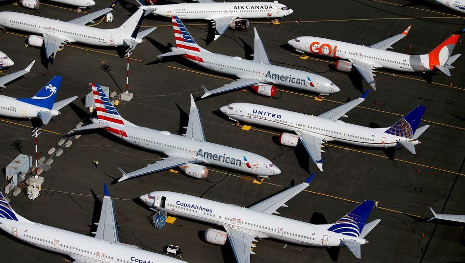 Abgehoben sind bei Boeing nur die Managergehälter: Stillstehende Maschinen, 2019 in Washington, D.C.