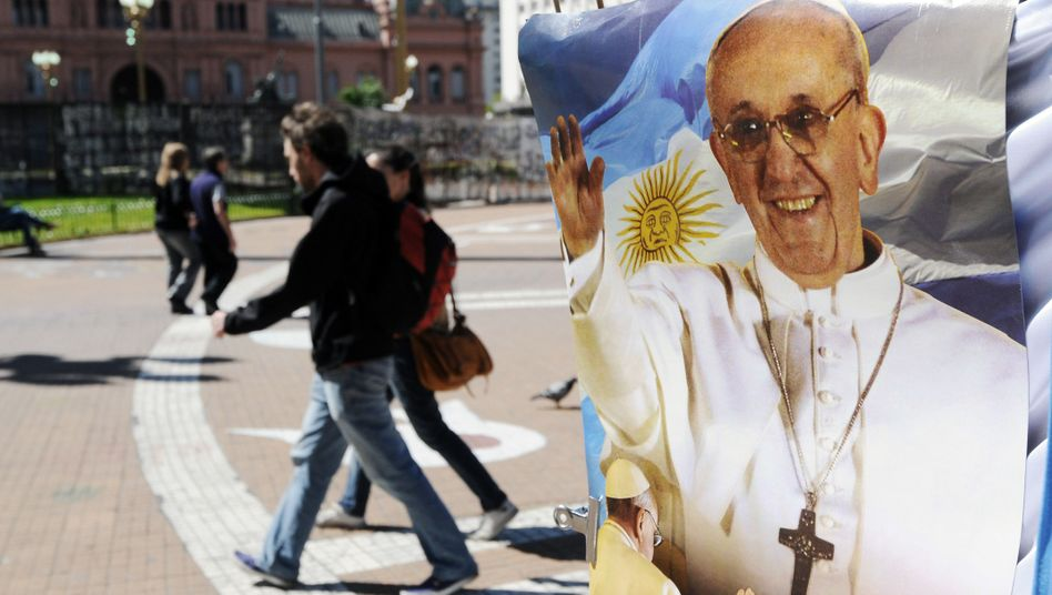 A stall with Pope Francis souvenirs near the Metropolitan Cathedral in Buenos Aires.