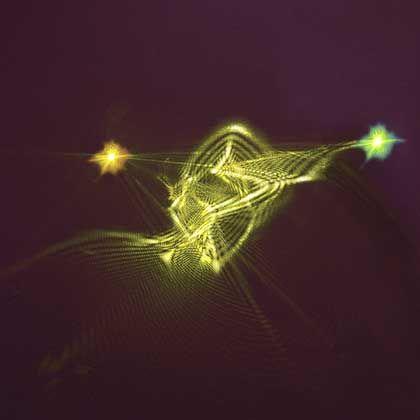 """""""Spukhafte Fernwirkung"""": Wie soll man die exotische Quantenwelt erklären, geschweige denn darstellen? Versuch einer künstlerischen Darstellung der Quanten-Teleportation von Materie zu Licht und zurück"""