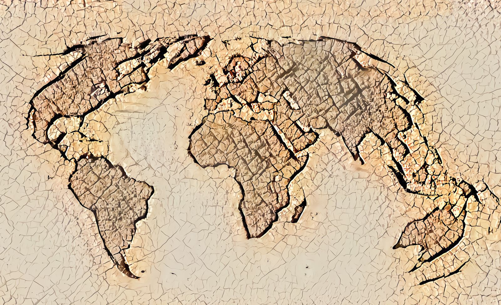 World map with dried and cracked soil