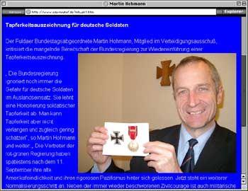 Screenshot der Webseite der CDU-Neuhof: Politiker Hohmann mit Militärauszeichnung