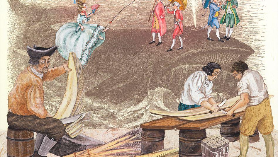 Fischbeinreißer beim Spalten und Säubern von Walfischbarten: Riesenmarkt für Korsetts