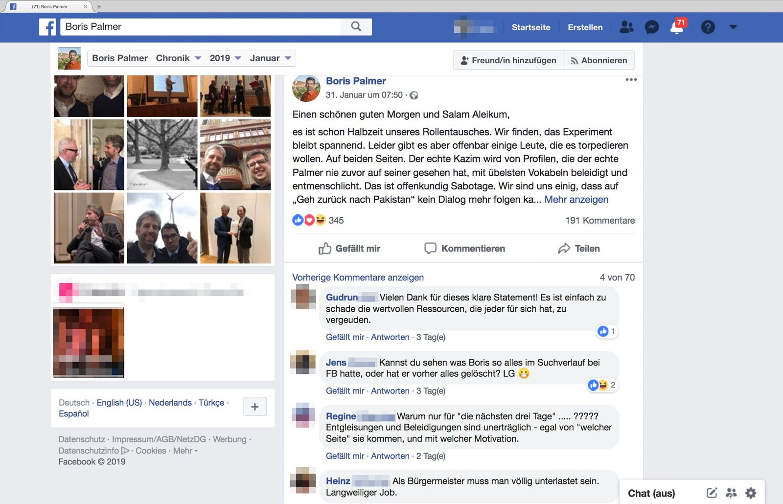 EINMALIGE VERWENDUNG Facebook/ Hasnain Kazim - Boris Palmer SCREENSHOT